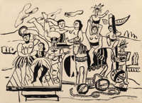 Fernand Léger (1881-1955) Étude pour la Grande Parade, 1952 Gouache and ink on paper 12-1/2 x 17