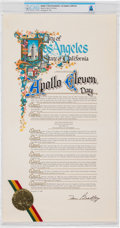 Explorers:Space Exploration, Apollo Eleven Day: City of Los Angeles Official Proclamation Signed by Mayor Tom Bradley, November 12, 1981, Directly From...