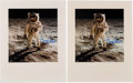 """Explorers:Space Exploration, Buzz Aldrin Signed Large Apollo 11 Lunar Surface """"Visor"""" Color Photos (Two) Originally from His Personal Collection.... (Total: 2 Items)"""
