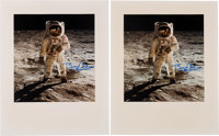 """Buzz Aldrin Signed Large Apollo 11 Lunar Surface """"Visor"""" Color Photos (Two) Originally from His Personal Colle..."""