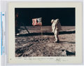 Explorers:Space Exploration, Apollo 11: Neil Armstrong Signed Large Lunar Surface Color Photo on a Presentation Mat, Inscribed to Ambassador George Bush,...
