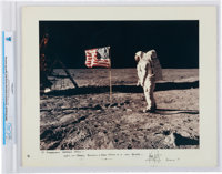 Apollo 11: Neil Armstrong Signed Large Lunar Surface Color Photo on a Presentation Mat, Inscribed to Ambassador George B...