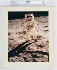 """Apollo 11: Large """"Visor"""" Lunar Surface Vintage NASA Color Photo on Presentation Mat Directly From The Armstron..."""