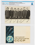 Explorers:Space Exploration, Soviet Union Cosmonauts: Soviet Soyuz 6, 7, and 8 Cosmonauts Facsimile-Signed B/W Photo Postcard and Cover Booklet Directly Fr...