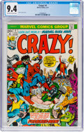 Bronze Age (1970-1979):Humor, Crazy! #1 (Marvel, 1973) CGC NM 9.4 Off-white to white pages....