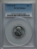 1943-D/D 1C MS64 PCGS. PCGS Population: (63/89). NGC Census: (0/0). CDN: $400 Whsle. Bid for problem-free NGC/PCGS MS64...