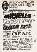 Music Memorabilia:Posters, Ricky-Tick Windsor Small Handbill Advertising The Cream, Shevells, Chessmen, and Georgie Fame Concerts (approximately 1966)....