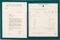 Music Memorabilia:Documents, Buddy Holly & The Crickets Letter and Billing Statement....