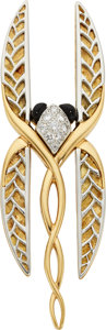 Estate Jewelry:Brooches - Pins, Diamond, Black Onyx, Platinum, Gold Brooch, Michael Bondanza . ...