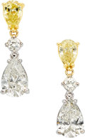 Estate Jewelry:Earrings, Diamond, Colored Diamond, Gold Earrings. ...