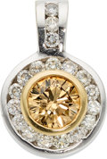 Estate Jewelry:Pendants and Lockets, Colored Diamond, Diamond, Gold Pendant. ...