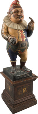 Rare Punch Cigar Store Advertising Figure Cast in Zinc, Circa 1885