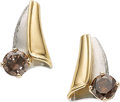 Estate Jewelry:Earrings, Colored Diamond, Platinum, Gold Earrings. ...