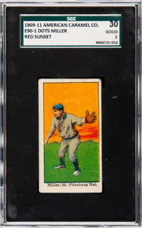 1909-11 E90-1 American Caramel Dots Miller (Red Sunset) SGC 30 Good 2 - The Only Confirmed SGC Example!