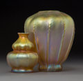 Two Tiffany Studios Gold Favrile Glass Ribbed Vases Circa 1909-1913. Engraved L. C. Tiffany, Favrile, (