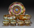 Art Glass:Tiffany , Seven Various Tiffany Studios Gold Favrile Glass Table Articles.Circa 1910. Engraved L.C.T. (various). Ht. 2 in. (talle...(Total: 7 Items)