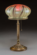 Art Glass:Other , Austrian Art Nouveau Bronze and Glass Table Lamp. Circa 1915 . Ht.13-3/4 in.. ...