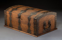 Arts and Crafts Metal Mounted Oak Fitted Silver Chest Circa 1900. Ht. 9 in