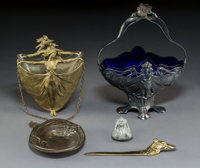 Five Art Nouveau Metalwork Pieces Early 20th century Ht. 13 in. (tallest, pewter and glass basket with handle