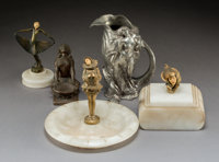 Five Art Nouveau and Art Deco Metalwork Pieces Early 20th century Ht. 6-5/8 in (tallest)