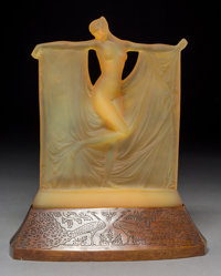 Rare R. Lalique Amber Glass Suzanne Statuette on Bronze Peacock