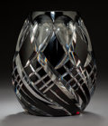 Art Glass:Other , Bohemian Art Deco Burgundy Cut-To-Clear Glass Vase. Circa 1920. Ht.7-7/8 in.. ...