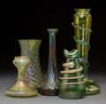 Decorative Arts, Continental:Other , Five Austrian Iridescent Glass Vases. Circa 1900. Ht. 12-1/8 in.(tallest). ... (Total: 5 Items)