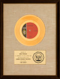 "Music Memorabilia:Awards, ? (Question Mark) & the Mysterians ""96 Tears"" RIAA White Matte Gold Record Sales Award (Cameo C-428, 1966)...."