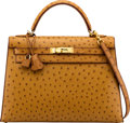 """Luxury Accessories:Bags, Hermès 32cm Natural Ostrich Sellier Kelly Bag with Gold Hardware. F Square, 2002. Condition: 1. 12.5"""" Width x 9"""" H..."""