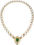Estate Jewelry:Necklaces, Colombian Emerald, Diamond, Ruby, South Sea Cultured Pearl, Gold Convertible Necklace, Yanes. ... (Total: 3 Items)