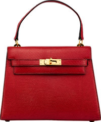 Hermès 20cm Braise Niloticus Lizard Mini Kelly Bag with Gold Hardware O Circle, 1985 Condition: 2