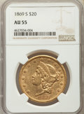 Liberty Double Eagles: , 1869-S $20 AU55 NGC. NGC Census: (367/388). PCGS Population: (127/282). CDN: $1,600 Whsle. Bid for problem-free NGC/PCGS AU...