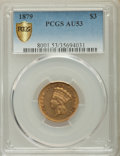 Three Dollar Gold Pieces, 1879 $3 AU53 PCGS. PCGS Population: (14/489 and 0/26+). NGC Census: (5/355 and 0/9+). CDN: $1,400 Whsle. Bid for problem-fr...