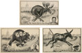 Political:Small Paper (1896-present), Wilson, Taft and Roosevelt: Spring-Tail Mechanical Postcards.... (Total: 3 Items)