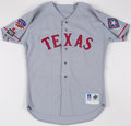 Baseball Collectibles:Uniforms, 1997 Darren Oliver Texas Rangers Game Worn Jersey with Jackie Robinson & Mark Holtz Patches. ...