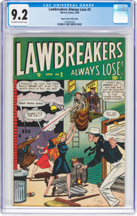 Lawbreakers Always Lose! #2 Mile High Pedigree (Marvel, 1949) CGC NM- 9.2 Off-white to white pages