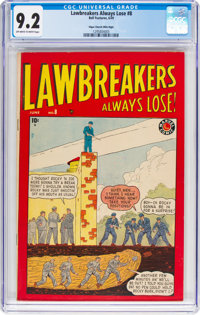 Lawbreakers Always Lose! #8 Mile High Pedigree (Marvel, 1949) CGC NM- 9.2 Off-white to white pages
