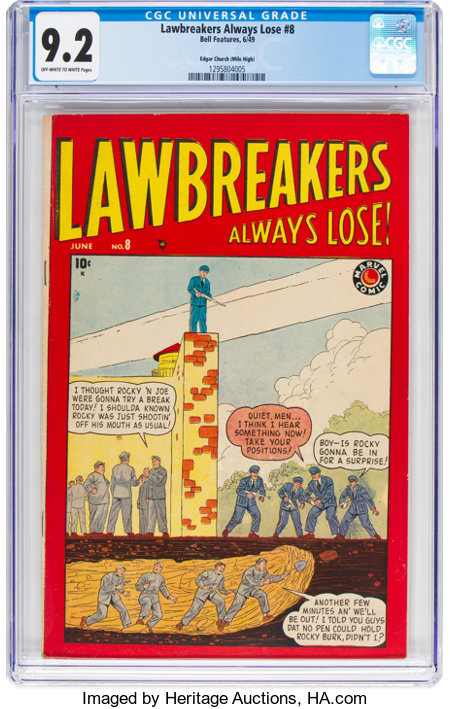 Lawbreakers Always Lose! #8 Mile High Pedigree (Marvel, 1949) CGC NM- 9.2 Off-white to white pages....