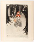 Original Comic Art:Miscellaneous, Louis Icart Red Riding Hood Signed Limited Edition ColorEtching Original Art (1927)....