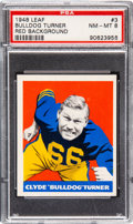 Football Cards:Singles (Pre-1950), 1948 Leaf Bulldog Turner (Red Background) #3 PSA NM-MT 8 - None Higher. ...