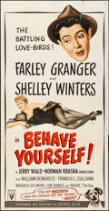 """Movie Posters:Comedy, Behave Yourself (RKO, 1951). Folded, Fine+. Three Sheet (41"""" X79""""). Alberto Vargas Artwork. Comedy.. ..."""