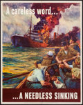 """Movie Posters:War, World War II Propaganda (U.S. Government Printing Office, 1942). OWI Poster No. 24 (22"""" X 28"""") """"A Careless Word... A Needles..."""