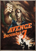 "Movie Posters:War, World War II Propaganda (U.S. Government Printing Office, 1942). Propaganda OWI Poster # 15 (28"" X 40"") ""Avenge December 7.""..."