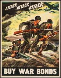"World War II Propaganda (U.S. Government Printing Office, 1942). War Bond Poster (22"" X 28"") ""Attack, Att..."