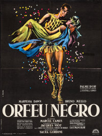 "Black Orpheus (Lux, 1959). Folded, Very Fine+. French Moyenne (23"" X 31""). Gilbert Allard Artwork. Foreign..."