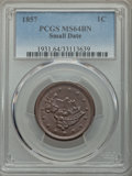 Large Cents: , 1857 1C Small Date MS64 Brown PCGS. PCGS Population: (31/4). CDN: $950 Whsle. Bid for problem-free NGC/P...