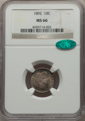 Barber Dimes: , 1892 10C MS66 NGC. CAC. NGC Census: (57/20). PCGS Population: (96/22). MS66. Mintage 12,121,245. ...