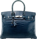 Luxury Accessories:Bags, Hermès 35cm Shiny Blue Jean Porosus Crocodile Birkin Bag with Palladium Hardware. I Square, 2005. Condition: 2. 14...