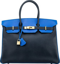 Hermès Special Order Horseshoe 35cm Indigo & Blue France Courchevel Leather Birkin Bag with Gold Hardware Y C...