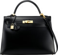 """Luxury Accessories:Bags, Hermès 32cm Black Calf Box Sellier Kelly Bag with Gold Hardware. D Square, 2000. Condition: 1 . 12.5"""" Width x 9"""" H..."""